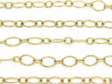 "Brass Plated Copper Textured Oval & Round Link Chain 8mm - 36""  (CHAIN76)"