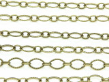 """Antique Brass Plated Copper Textured Oval & Round Link Chain 8mm - 36""""  (CHAIN78)"""