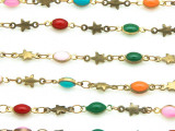 "Brass w/Multi-Color Enamel Oval & Star Link Chain 19mm - 36""  (CHAIN84)"