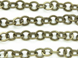 "Antique Brass Plated Iron Flat Round Link Chain 8mm - 36""  (CHAIN53)"