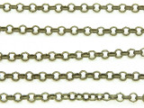 "Antique Brass Plated Iron Rolo Chain 3mm - 36""  (CHAIN61)"