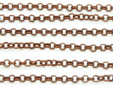 "Antique Copper Plated Iron Rolo Chain 3mm - 36""  (CHAIN62)"
