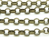 "Antique Brass Plated Iron Rolo Chain 7mm - 36""  (CHAIN65)"
