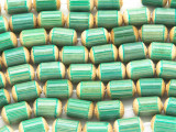 Celadon Green Barrel Bamboo Wood Beads 10mm (WD880)