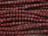 Dark Red Cube Wood Beads 4mm (WD899)