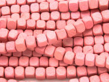 Pink Cube Wood Beads 6mm (WD908)