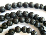 Polished Lava Rock Round Beads 8mm (LAV81)