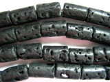 Black Polished Lava Rock Cylinder Beads 15mm (LAV88)