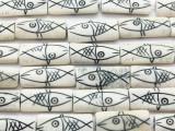 White & Black Fish Rectangular Carved Bone Beads 32mm (B7044)