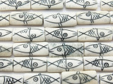 White & Black Fish Rectangular Carved Bone Beads 32mm (B7044)
