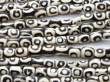 Batik Bone Beads w/Circles 12mm - Kenya (BA16)