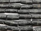 Black & White Fish Rectangular Carved Bone Beads 32mm (B7020)