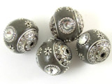 Gray Ceramic & Metal Bead 17mm (CM42)