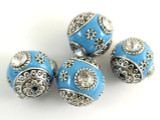 Light Blue Ceramic & Metal Bead 17mm (CM47)