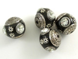 Black Ceramic & Metal Bead 17mm (CM49)