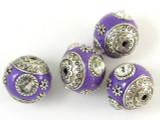 Purple Ceramic & Metal Bead 17mm (CM50)