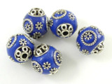 Blue Ceramic & Metal Bead 17mm (CM55)