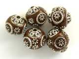 Brown Ceramic & Metal Bead 17mm (CM58)