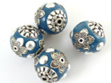 Teal Blue Ceramic & Metal Bead 18mm (CM60)