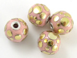 Pink Ceramic & Metal Bead 19mm (CM69)