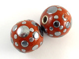 Burnt Orange Ceramic & Metal Bead 21mm (CM72)