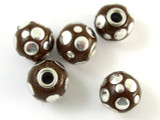 Brown Ceramic & Metal Bead 14mm (CM73)