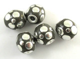 Gray Ceramic & Metal Bead 14mm (CM75)
