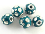 Green Ceramic & Metal Bead 14mm (CM76)
