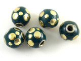 Green Ceramic & Metal Bead 13mm (CM79)