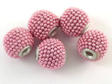 Pink Ceramic & Metal Bead 13mm (CM80)