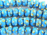 Blue w/Polka Dots Lampwork Glass Beads 13mm (LW1423)