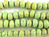 Light Green w/Swirls Lampwork Glass Beads 14mm - Large Hole (LW1425)