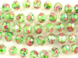 Green w/Pink Roses Faceted Glass Beads 12mm (CRY165)