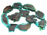 Green & Brown Agate Slab Gemstone Beads