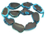 Blue & Brown Agate Slab Gemstone Beads