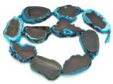 Blue & Brown Agate Slab Gemstone Beads