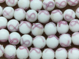 Breast Cancer Awareness Lampwork Glass Beads 10mm (LW1561)