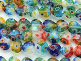 Millefiori Heart Lampwork Glass Beads 10mm (LW1565)