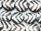 Batik Bone Beads w/Stripes 24mm - Kenya (BA7015)