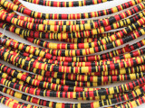 Yellow, Black & Red Vinyl Disc Beads 2-3mm (VY199)