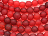 Red Round Glass Trade Beads 9-10mm - Nigeria (AT7032)