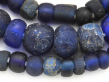 Old Cobalt Blue Dutch Dogon Glass Trade Beads - Mali (RF751)