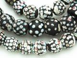 Old Black & White Skunk Glass Trade Beads 10-12mm (RF760)