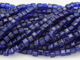 Dark Blue Cube Crystal Glass Beads 4mm (CRY183)