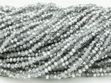 Silver & Gray Metallic Crystal Glass Beads 2mm (CRY185)