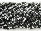 Black & Silver Crystal Glass Beads 4mm (CRY201)