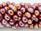 Dark Fuchsia w/Metallic Finish Crystal Glass Beads 10mm (CRY243)