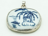 Blue China Porcelain Pendant 36mm (AP1846)