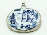 Blue China Porcelain Pendant 36mm (AP1848)