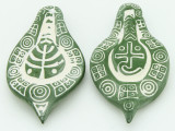 Green & White Ceramic Pendant 54mm (AP1853)